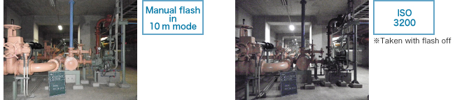 Built-in flash reaches up to 10m