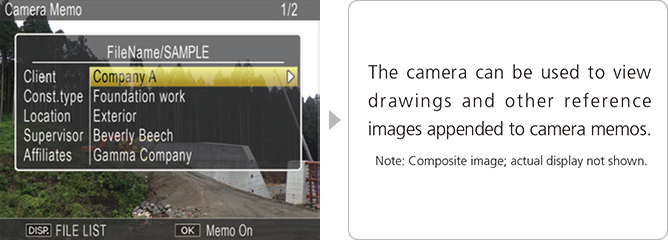 The camera can be used to view drawings and other reference images appended to camera memos.